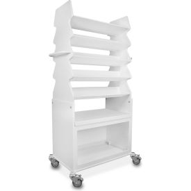 "trippnt™ extra wide tall slanted suture cart with bulk storage area, 27""w x 17""d x 56""h, white TrippNT™ Extra Wide Tall Slanted Suture Cart with Bulk Storage Area, 27""W x 17""D x 56""H, White"