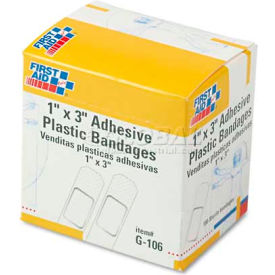 "first aid only g-106 plastic adhesive bandages,1"" x 3"", 100/box First Aid Only G-106 Plastic Adhesive Bandages,1"" x 3"", 100/Box"
