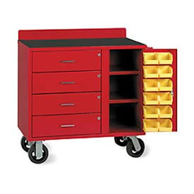 F83892A2 Vari-Tuff Mobile Utiity Bin Cabinet with 4 Drawers and 12 Bins - 36x21x35, Red