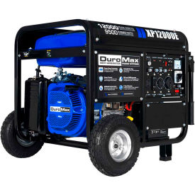duromax portable gas generator w/ electric start, gas powered, 12000 rated watts