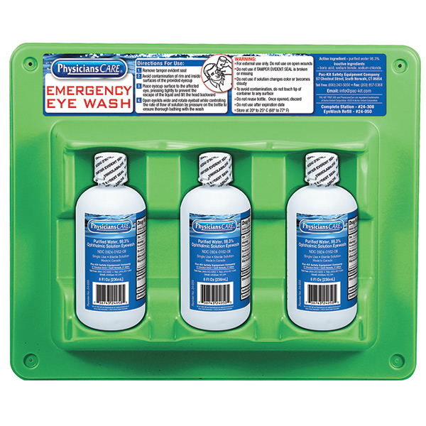 Eyewash Station, Triple Bottle, 8 oz