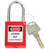 "TruForce™ Thermoplastic Padlock w/ Steel Shackle, 1 1/2"", Red"